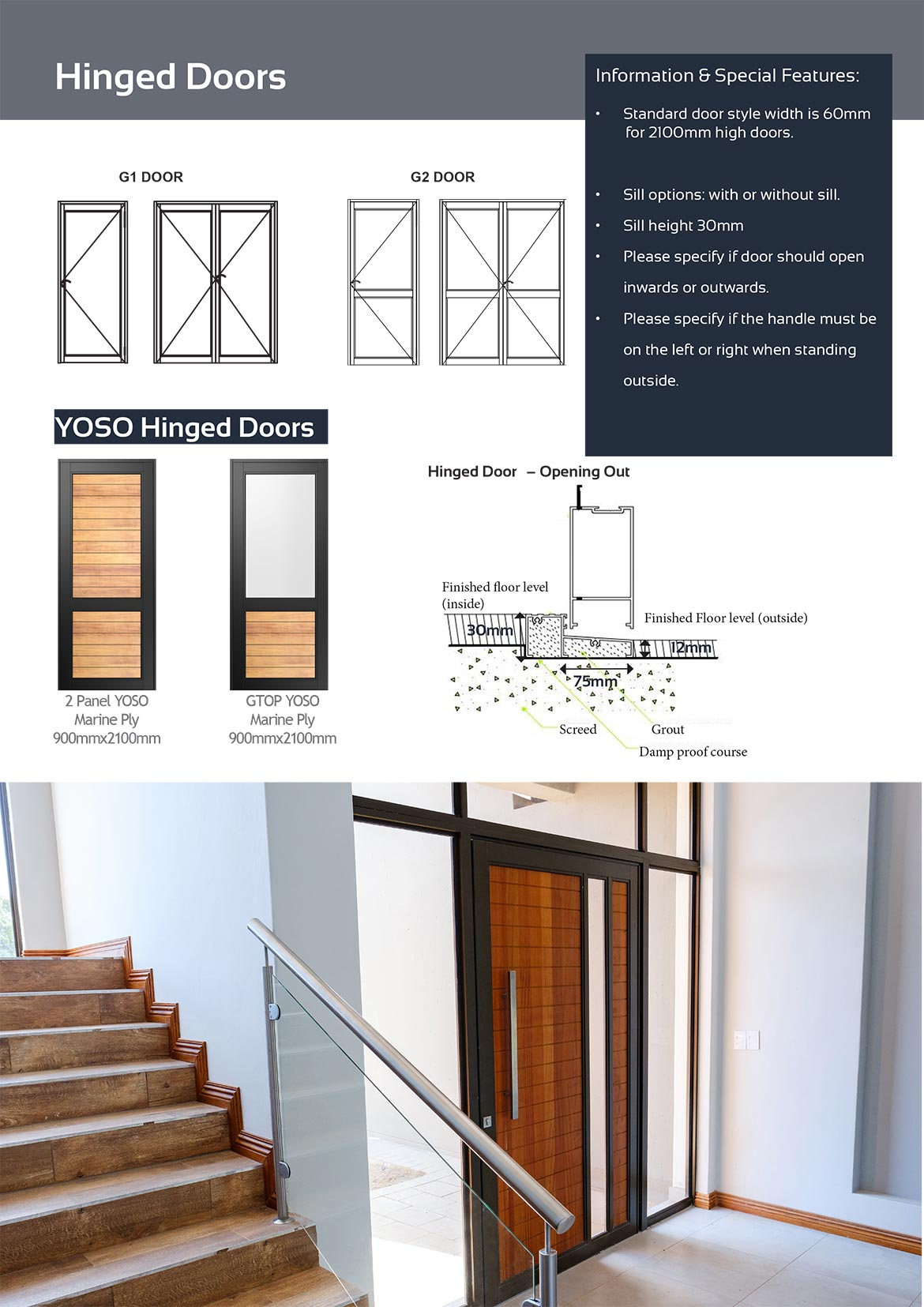vanacht aluminium hinged doors matrix and information 2018
